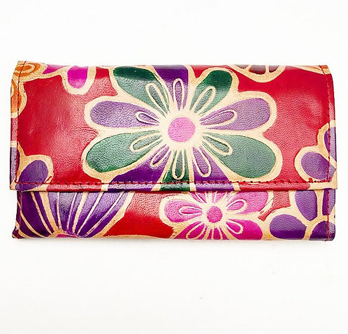 Red Flower Leather Purse