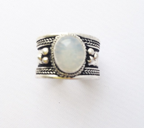 Small White Agate Tibetan Ring