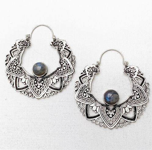 Labradorite Mandala Earrings