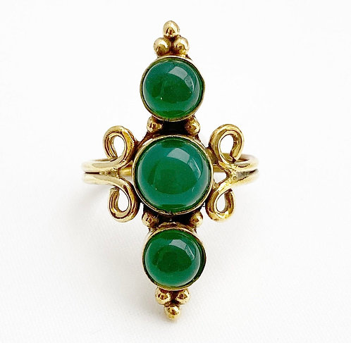 Green Jasper Brass Mani Ring
