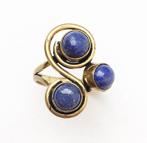 Lapis Lazuli 3 Stone Ring