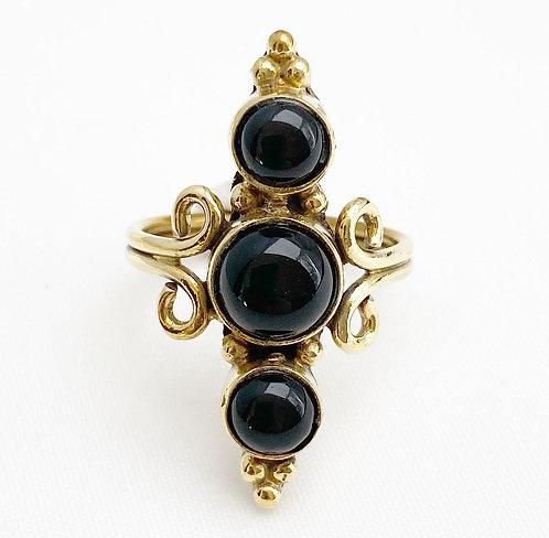 Onyx Brass Mani Ring