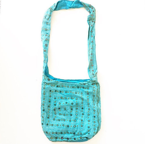 Turquoise Mirror Slouch Bag