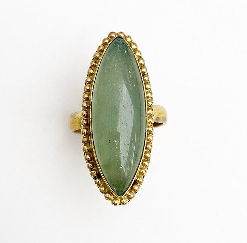 Aventurine Brass Stone Ring