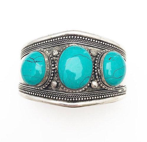 3 Stone Turquoise Cuff