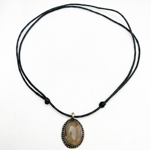 Dark Peach Moonstone Pendant Necklace