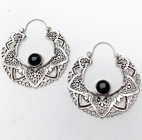 Onyx Mandala Earrings