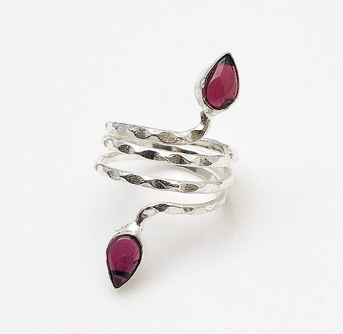 Pink Agate Silver Ghuma Ring