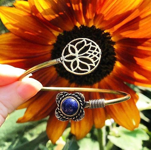Lapis Lazuli Brass Lotus Bracelet