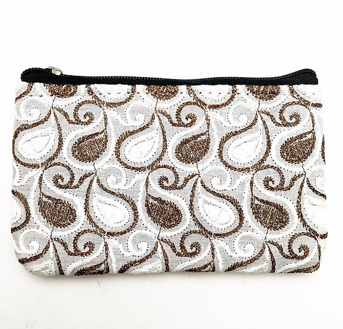 Embroidered Silver Coin Purse
