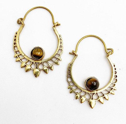Tigers Eye Brass Earrings