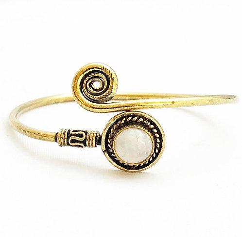 Moonstone Brass Spiral Bracelet