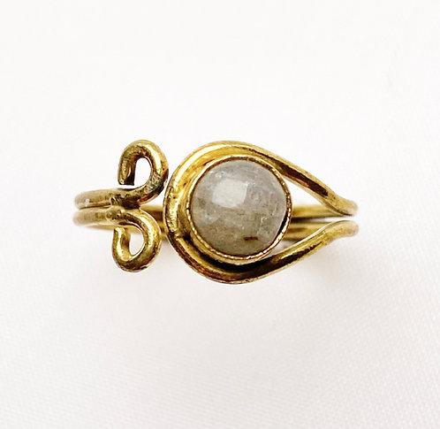 Labradorite Brass Spiral Ring