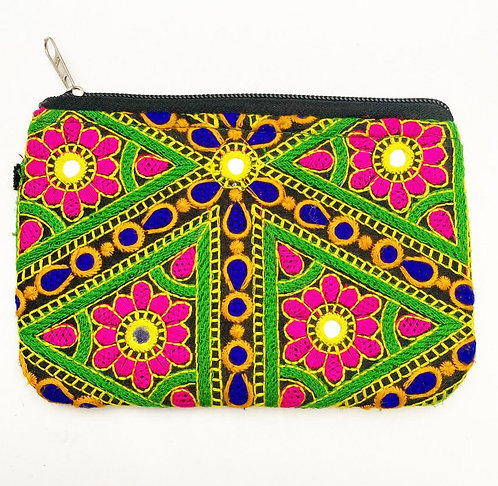 Emrbroidered Mehndi Coin Purse