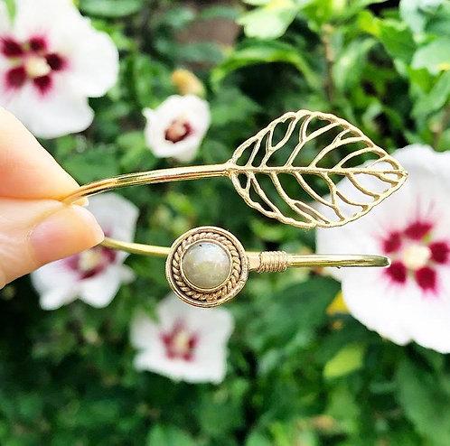 Labradorite Brass Leaf Bracelet
