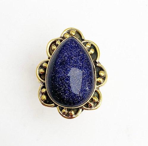 Teardrop Blue Goldstone Brass Stone Ring