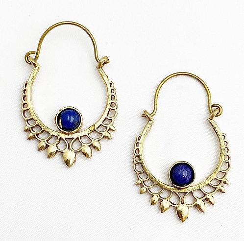 Lapis Lazuli Brass Earrings