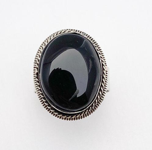 Black Agate Stone Ring