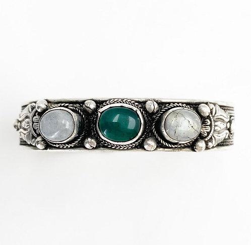Green Jasper & Moonstone Tripal Bracelet