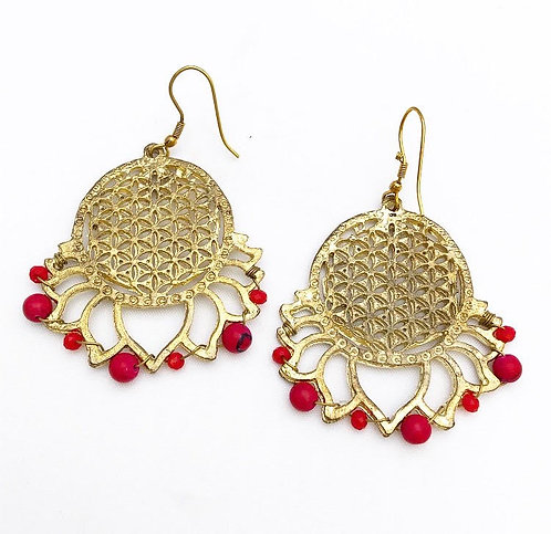 Red Bead Flower of Life Earrings
