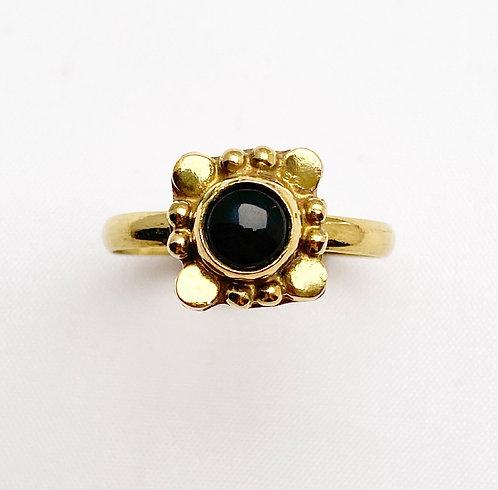 Onyx Brass Varg Ring