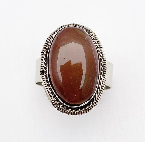 Burnt Orange Agate Stone Ring