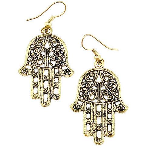 Hamsa Brass Earrings