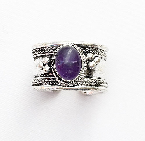 Small Amethyst Tibetan Ring