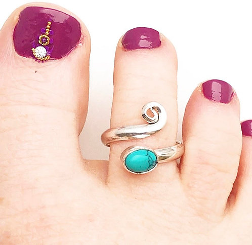 Turquoise Spiral Toe Ring
