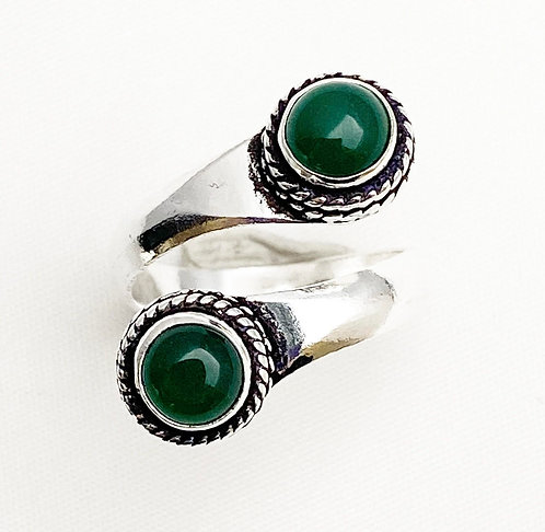 Green Jasper Twist Ring