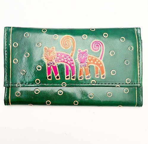 Green Double Cat Leather Purse