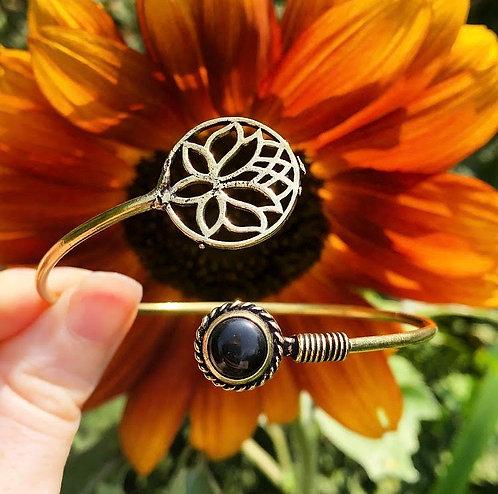 Onyx Brass Lotus Bracelet