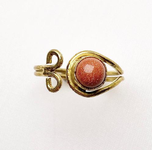 Goldstone Brass Spiral Ring
