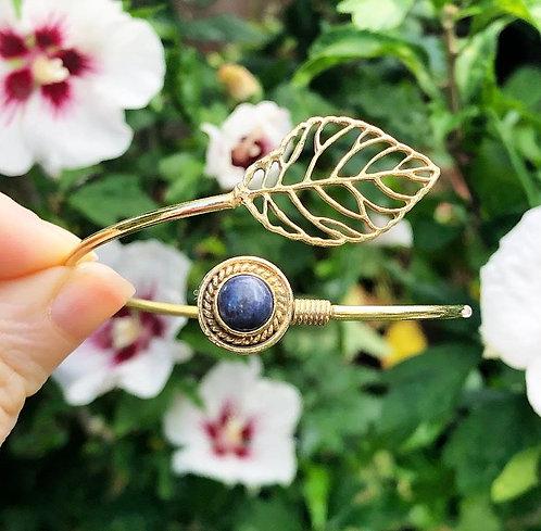 Lapis Lazuli Brass Leaf Bracelet