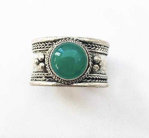 Small Green Jasper Tibetan Ring