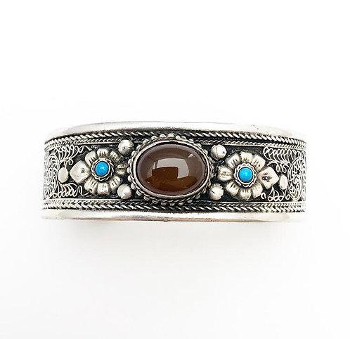 Dark Yellow Agate Filigree Bracelet