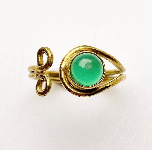 Green Jasper Brass Spiral Ring