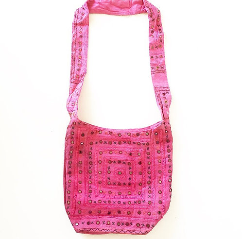 Pink Mirror Slouch Bag