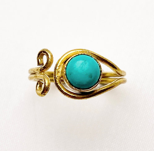 Turquoise Brass Spiral Ring