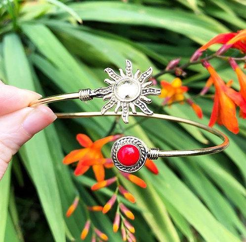 Coral Brass Sun Bracelet