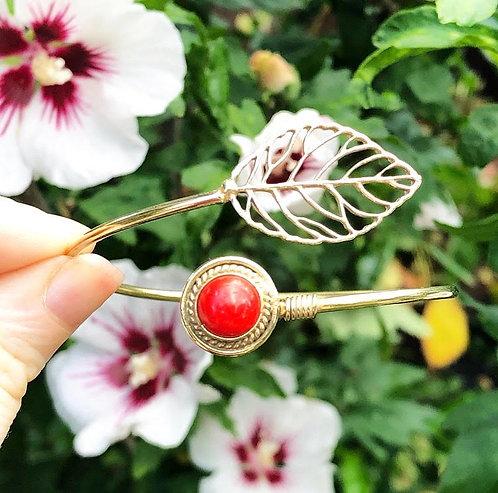 Coral Brass Leaf Bracelet