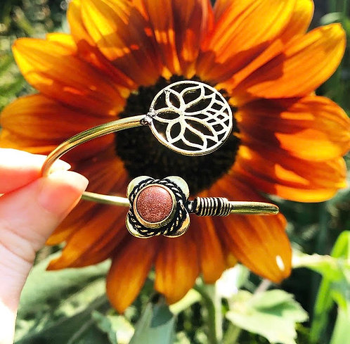 Goldstone Brass Lotus Bracelet