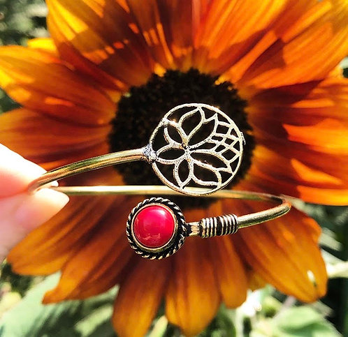 Coral Brass Lotus Bracelet