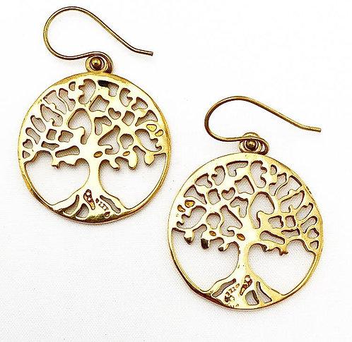 Tree of Life Brass Earrings