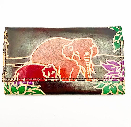 Elephant Mother & Child Leather Purse