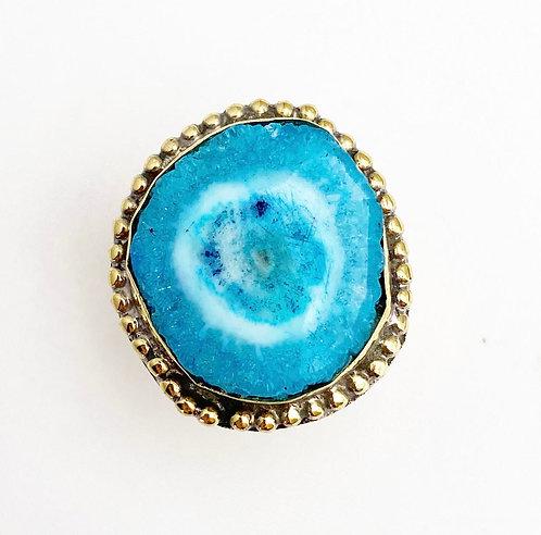 Aqua Agate Brass Stone Ring