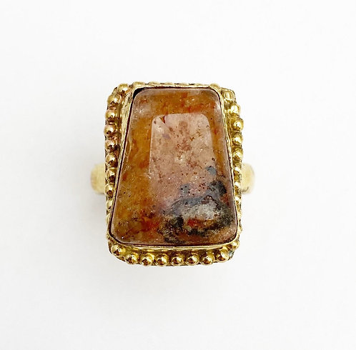 Orange Aventurine Brass Stone Ring