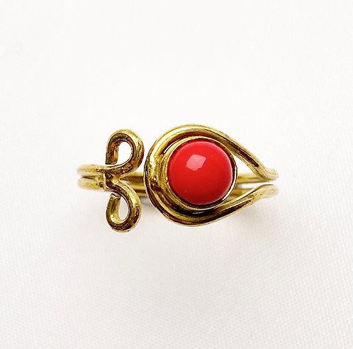 Coral Brass Spiral Ring