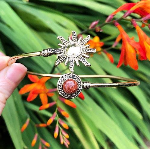 Goldstone Brass Sun Bracelet