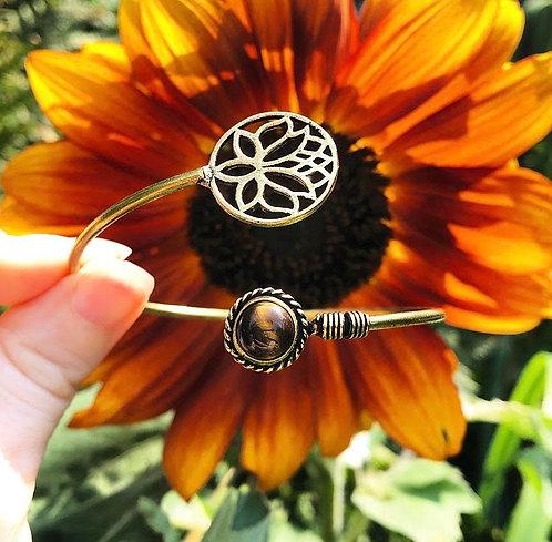 Tigers Eye Brass Lotus Bracelet